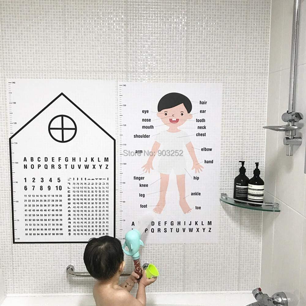 Водонепроницаемые Детские Обучающие наклейки на стену-высота линейка Когнитивная фигурка наклейки на стену на английском языке-игрушка-пазл для раннего развития P