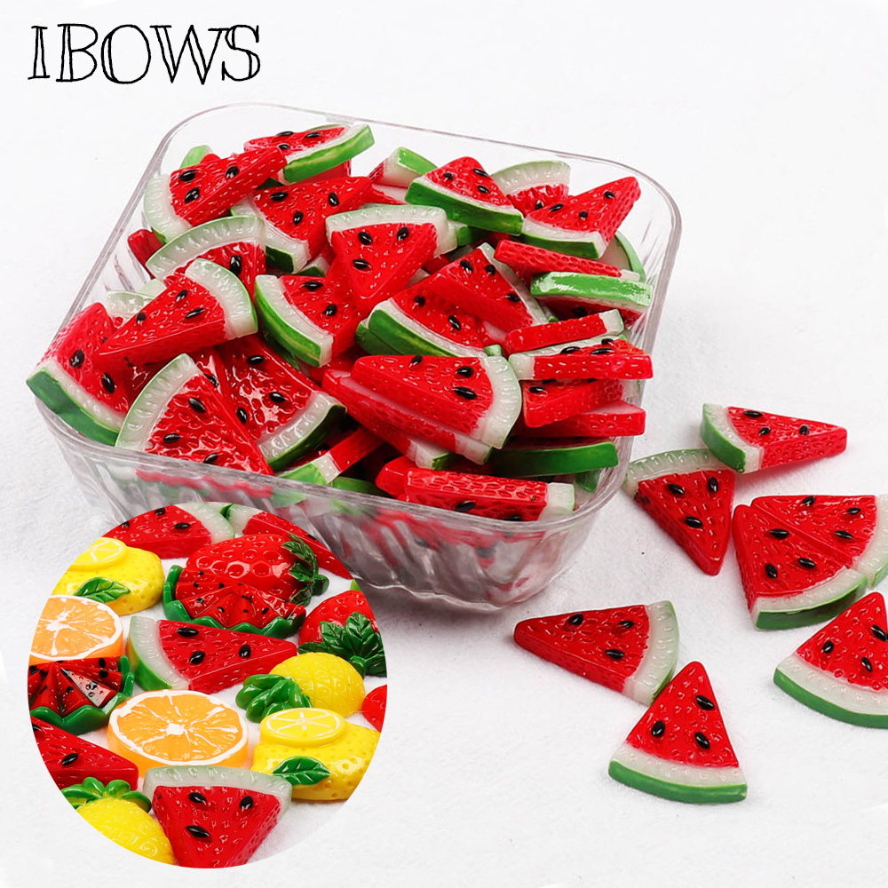 IBOWS Flat Back Fruits Resin Watermelon Pineapple Cute Resins DIY Jewelry Hair Bows Clips Accessories Resin Cabochons Decoration
