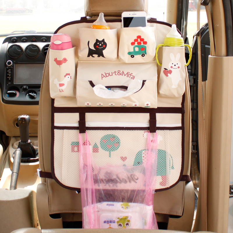 Image 2 - Cute Cartoon Lion Car Organizer Seat Back Storage Bag Hanging Stowing Tidying Baby Kids Travel Universal Auto Multi pocket Bag-in Stowing Tidying from Automobiles & Motorcycles