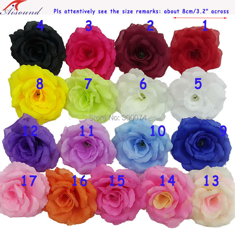 16pcs 8cm Handmade Silk Rose Flowers Head DIY Craft Supplies Artificial Fake Flower Supplies Wedding Decoration Flower Rose