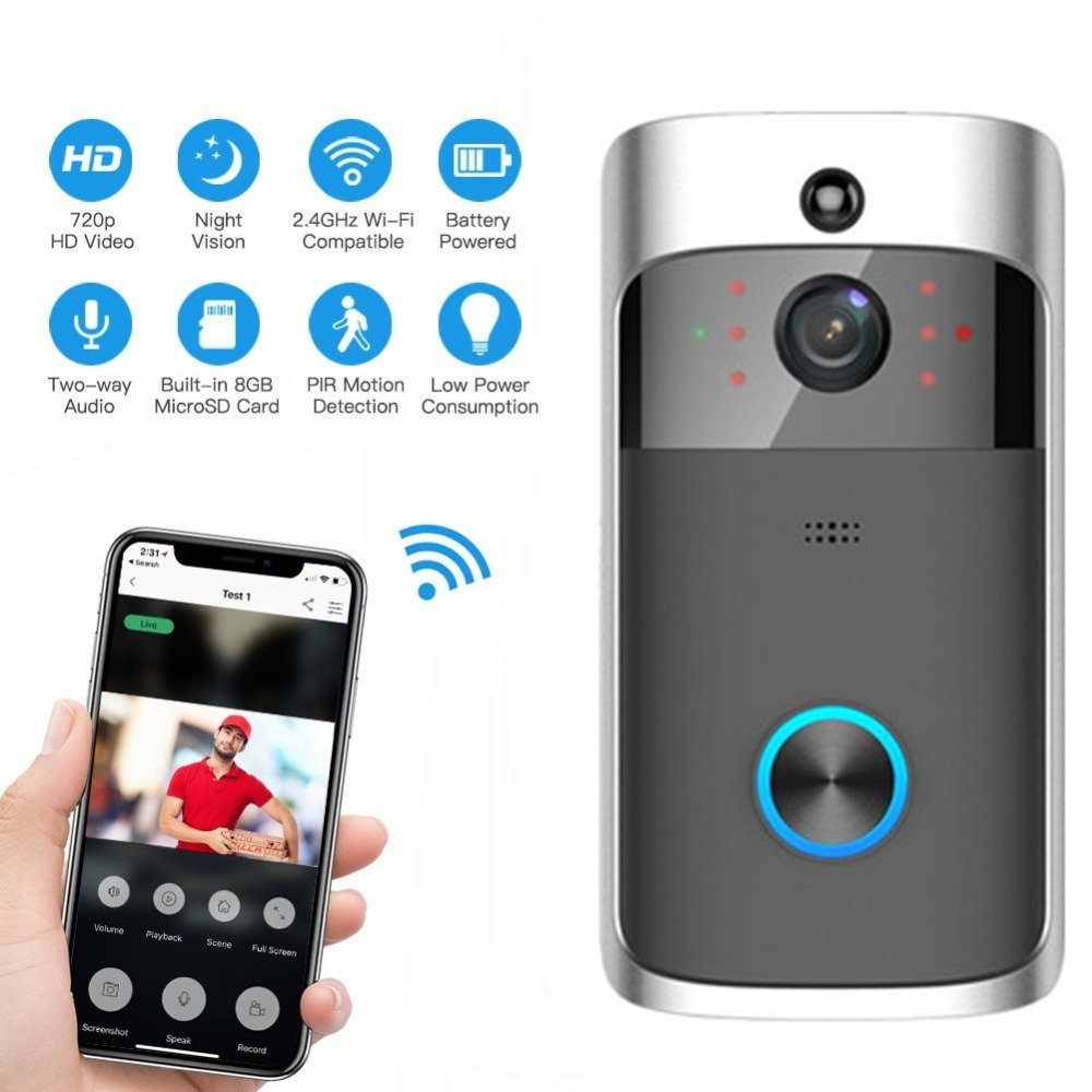 Video DoorBell Battery WIFI Doorbell Camera IP Video Intercom Video Door Phone For Apartments IR Alarm Wireless Security CameraVideo DoorBell Battery WIFI Doorbell Camera IP Video Intercom Video Door Phone For Apartments IR Alarm Wireless Security Camera