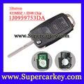 Frete grátis (1 Pcs) 3 Botão do Controle Remoto Chave com CHIP ID48 1J0 959 753 DA Para VW Skoda Assento VOLKSWAGEN 433 MHz