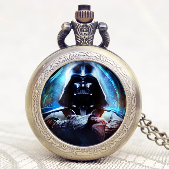 Star Wars Extension Darth Vader Theme Pocket Watch With Chain Necklace & Pendant