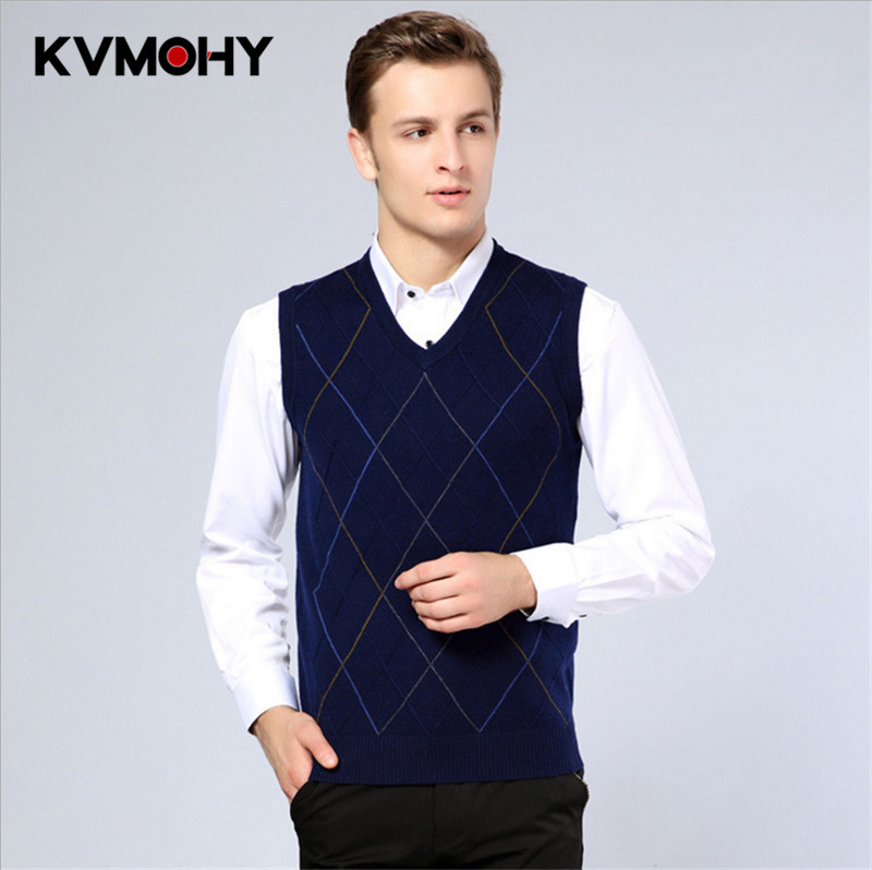 Men Pullover Cashmere Sweater Jumper Classic Plaid Stripes Sleeveless Male Sweaters Mens Pull Homme Knitwear Woolen Vest Clothes