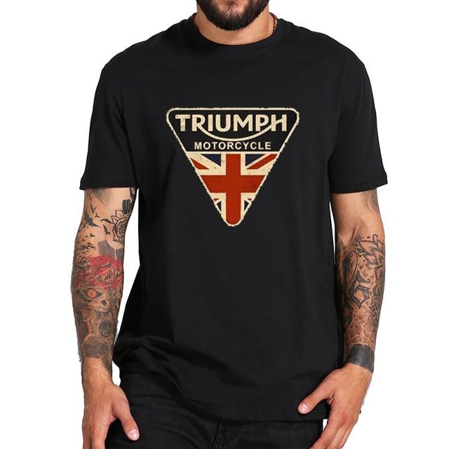 b53f559c Cracked Shirt Union Jack Triumph Motorcycle Men T Shirt UK Flag White T  Shirt Men's Vintage Tee Tops Branded Gifts