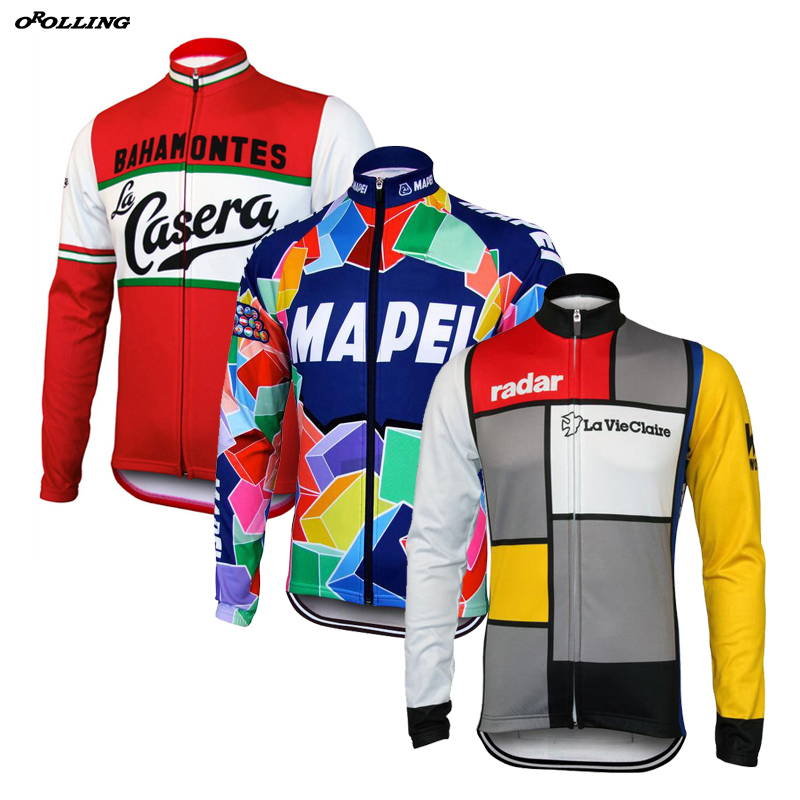 New Retro Team Cycling Jersey Long Sleeves Thin OR Winter Thermal Fleece  Customized Road Mountain Race 1d46fb658