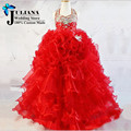 2016Tiered Ruffles Halter Beauty Pageant Dresses For Little Girls Vestidos De Comunion Para Ninas Gowns Ball Prom Dress Children