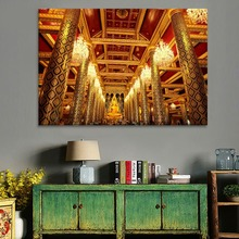 Ancient Architecture Golden Temple And Buddha Statue Painting 1 Piece Style Canvas Print Type Modern Home Decor Wall Art Poster