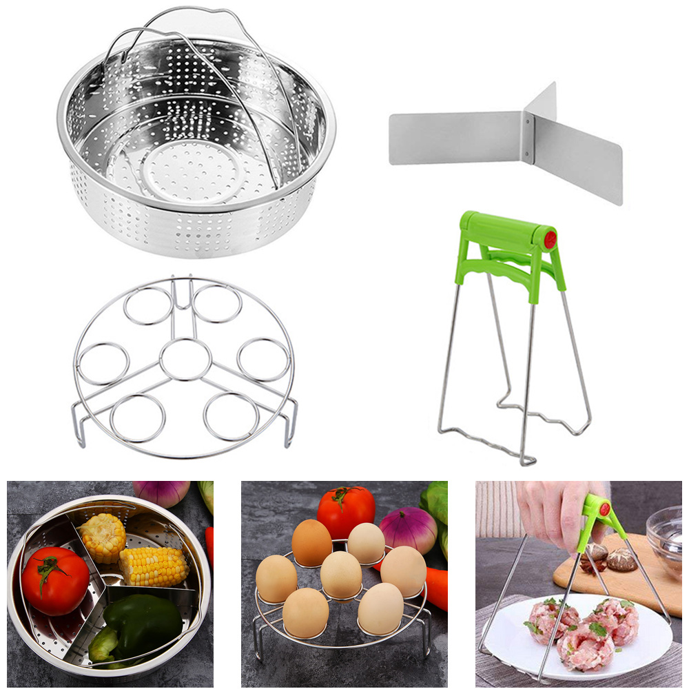 304 Stainless Steel Steamer Basket+Separator+7-hole Steamer Rack With Dish Clip Kitchen Instant Pot Pressure Cooker Accessories