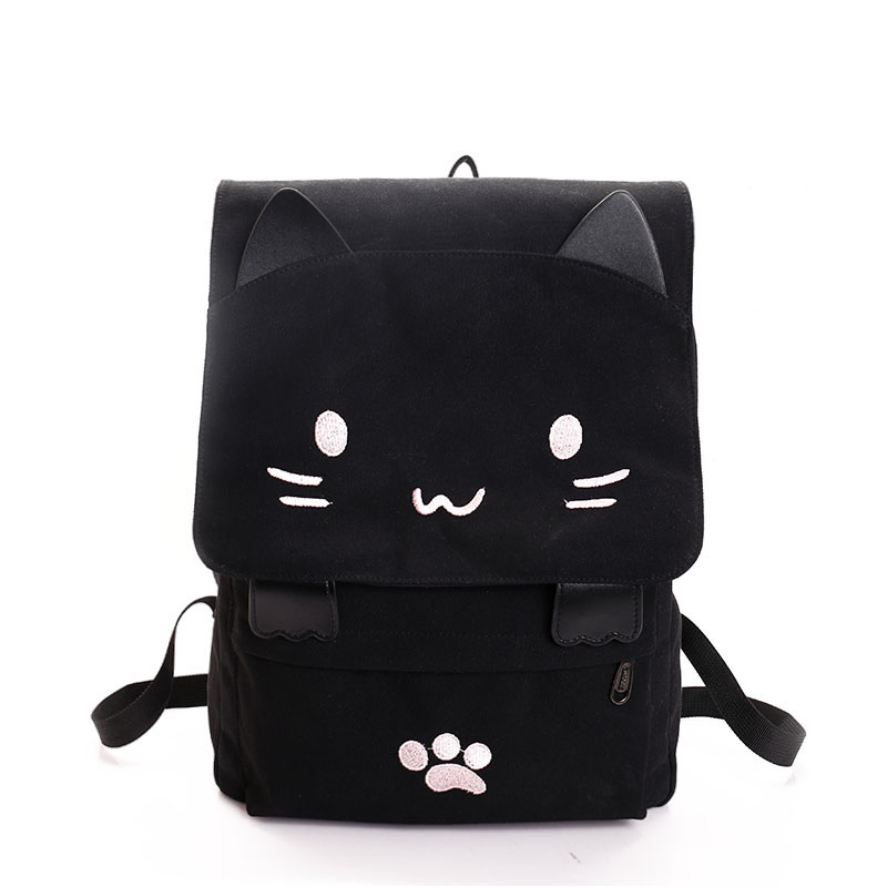 Cat Canvas Backpack Cartoon Embroidery Backpacks For Teenage Girls School Bag Black Printing Rucksack Mochilas
