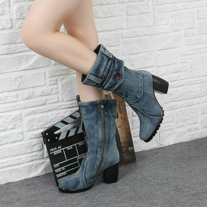 Boots Talons hollow Denim Toile D'hiver Femme Latérale Martin Cloth Épais Bottes Jeans Glissière wear Hauts Femmes Bleu À Boty Nouvelle Mujer Strass De rhinestone Blue Beads gwqpnx