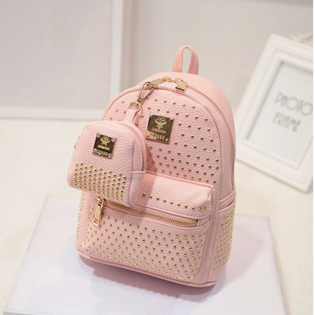Aliexpress.com : Buy New hot pink women black leather backpack ...