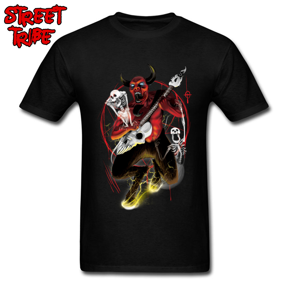 T-shirt Rock Off Men T Shirts Devil Punk Clothes Demon Guitar Player Tops Hard Rock Band Crazy Tees Bull Print Guys Clothes image