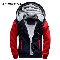 WEBONTINAL Hot Sale 2017 Brand Winter Thicken Velvet Hooded Male Jacket Men Coats Casual Polyester Zipper