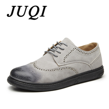 JUQI New Arrivals Mens Oxfords Leather Basic Dress Formal Brogue Shoes Man Fashion Classic Europe Luxury Gentry Style