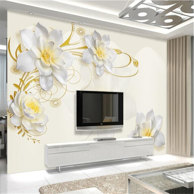Beibehang Custom 3d Photo Mural Jade Carving Crane Lotus Marble