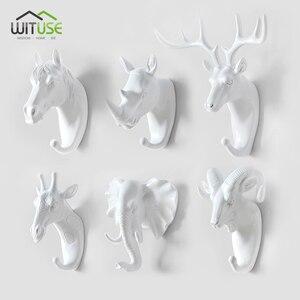 Roman beyaz 3D hayvan kafası tasarım duvar kanca ev dekorasyon çok amaçlı fil geyik at ceket şapka ceket havlu askıları