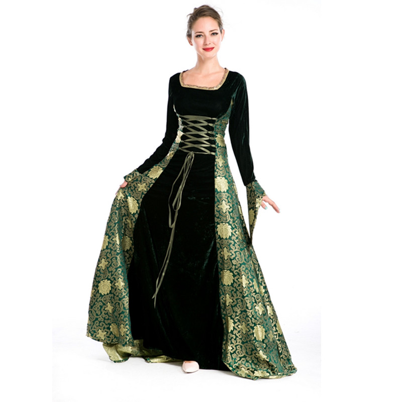 Medieval Costumes For Women Full Sleeve Jacquard Gown