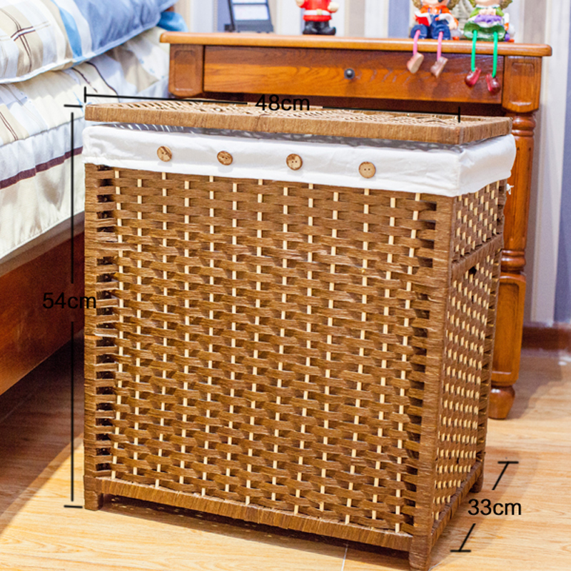 Laundry Storage Organizer Basket Hamper Closet Paper Rope Woven Laundry  Sorters With Lid Cloth Toy Organizer Basket Box Panier In Storage Baskets  From Home ...