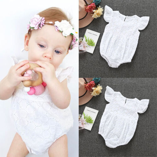 2017 Summer Baby Girl Clothes Romper Fly Sleeves Solid White Lace Newborn Baby Rompers Toddler Jumpsuit Outfits Sunsuit