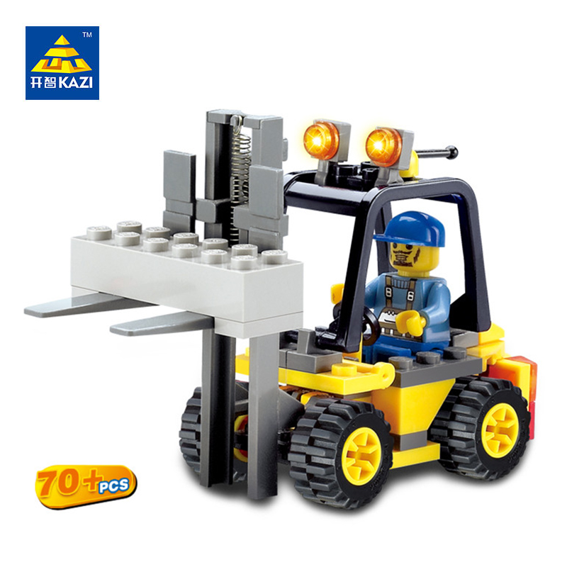 KAZI City Build Model Building Blocks Engineer Forklift Truck Block Bricks Sets Brinquedos Educational Toys for Children 6+Ages kazi military building blocks army brick block brinquedos toys for kids tanks helicopter aircraft vehicle tank truck car model