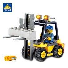KAZI City Build Model Building Blocks Engineer Forklift Truck Block Bricks Sets Brinquedos Educational Toys for