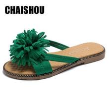 65aeacbea 2019 fashion women sandals flat Suede big flower V flip flops stud beach  shoes summer rivets