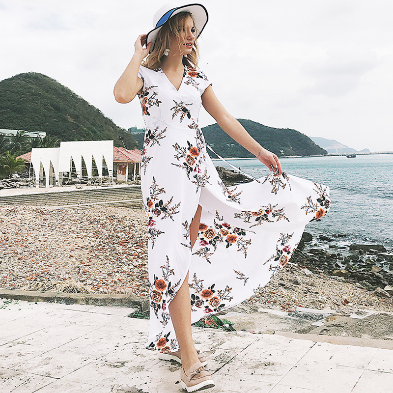 Casual Beach Summer Dress Female 2018 Chiffon Floral Dress Maxi V-neck Ladies Dresses For Women White Black Vestido Sexy YQ074