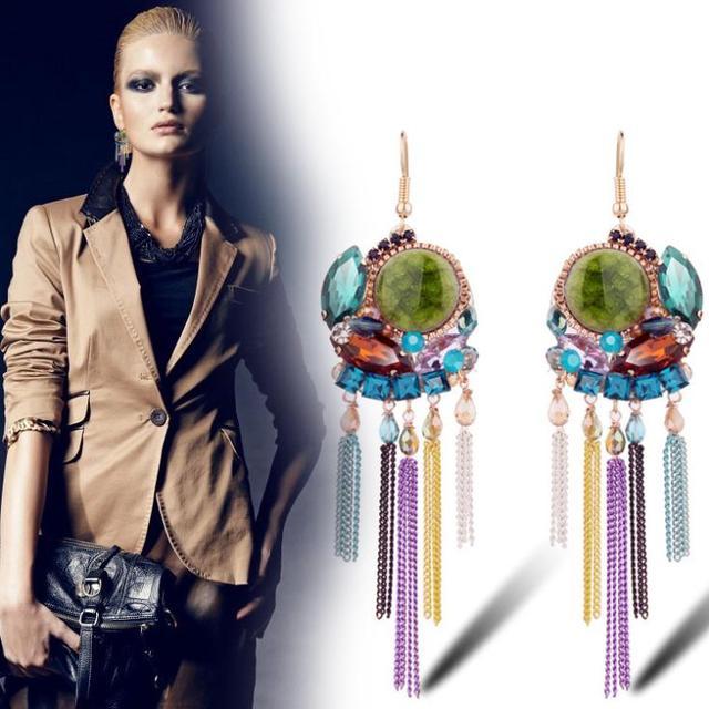 Ajojewel Christmas Gifts Colored Metal Chain Tassel Dangle Earrings Bohemia Vintage Fashion Geometric Earrings With Crystal