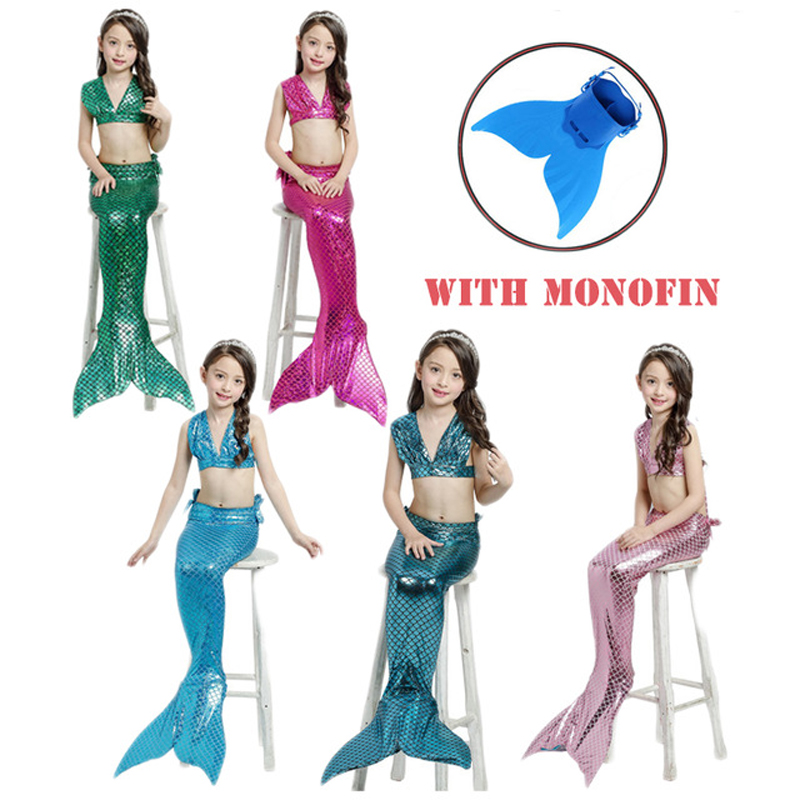 4PCS/Set Girls Fancy Mermaid Tail Bikini Set with monofin Summer Swimsuit Swimming Costume zeemeerminstaart met monofin for Kids