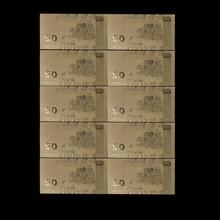 Billets la lettonie en feuille d'or 50 Lat | 10 pièces/lot, billet d'or en 24K, pour cadeaux