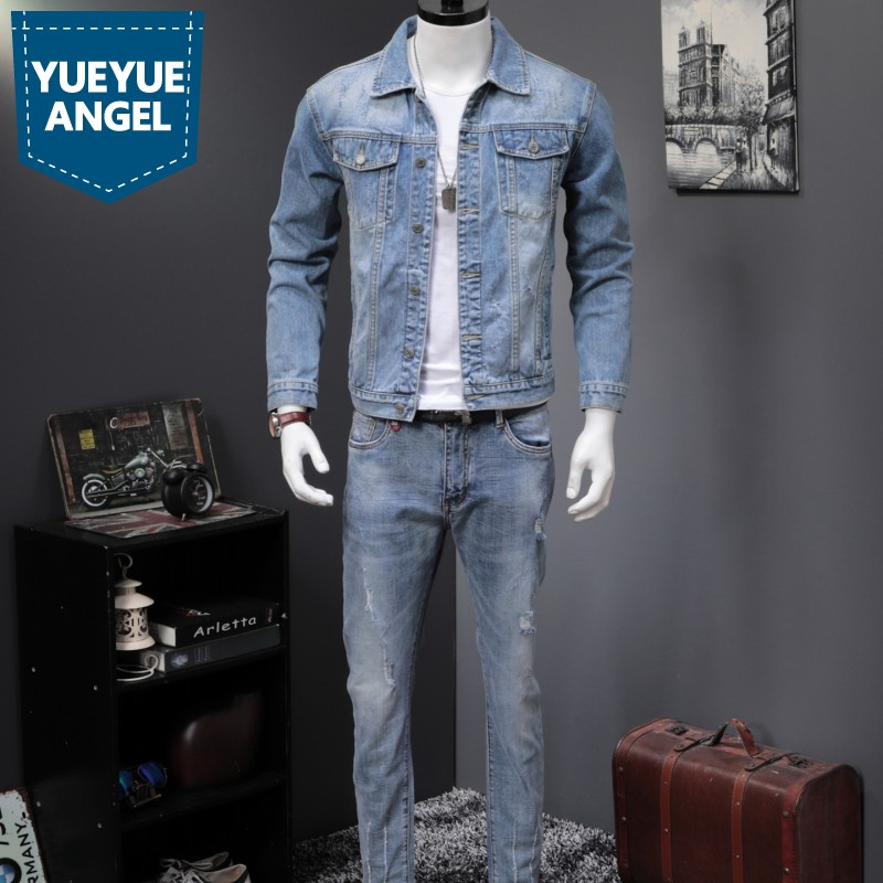 Spring Autumn New Light Blue Harajuku Denim 2 Piece Sets Men Vintage Wash Jackets And Jeans Fashion Slim Letter Two Piece Suits