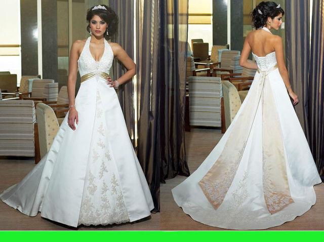 Wd168 Famous Designer Wedding Dresses Under 100 White And Brown Sweetheart Lique Halter Bridal Gown