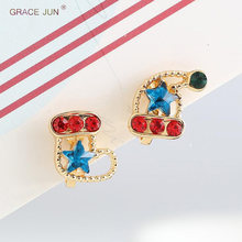 GRACE JUN Cute Small Clip on Earrings No Pierced for Kid Baby Fashion Christmas Hat Boots Gold Color No Hole Earrings No Allergy(China)