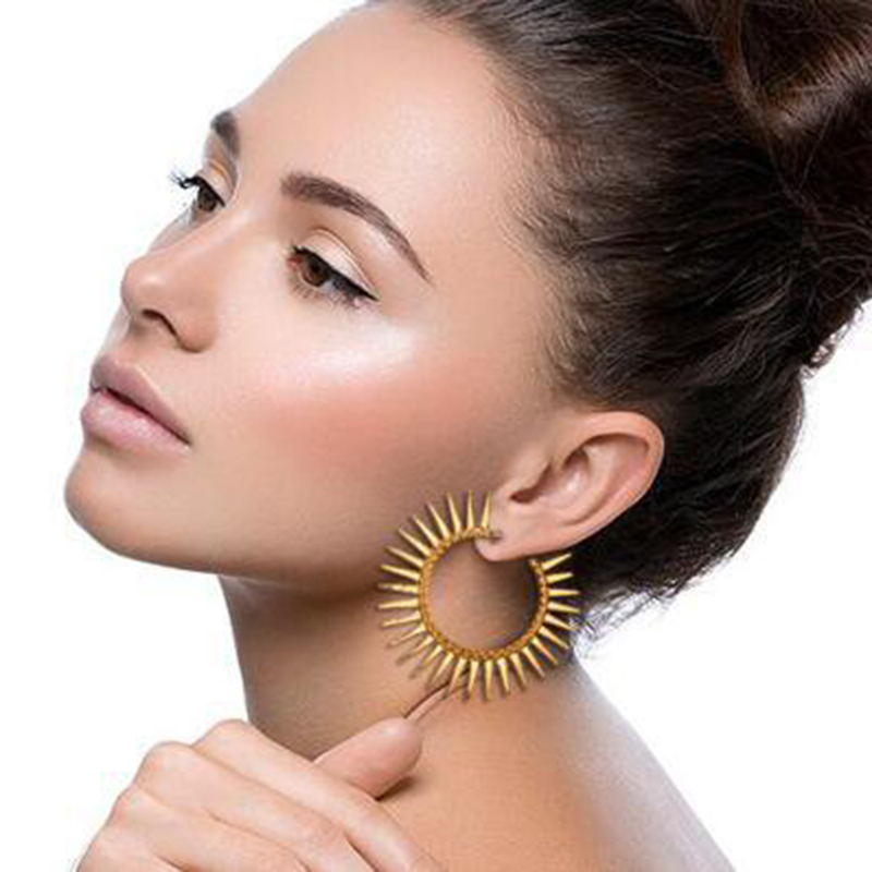 Trendy Womens Punk Vintage Sun Sawtooth Round Drop Earrings Female Fashion Gold Color Metal Geometric Dangle Earring Jewelry