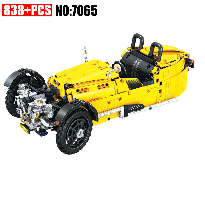 AIBOULLY 838PCS 7065 Technic Series Three Wheeled classic cars building bricks blocks toys for children Gifts aiboully 7061 550pcs technic motorbike motorcycle car bicycle building bricks blocks toys for children gift