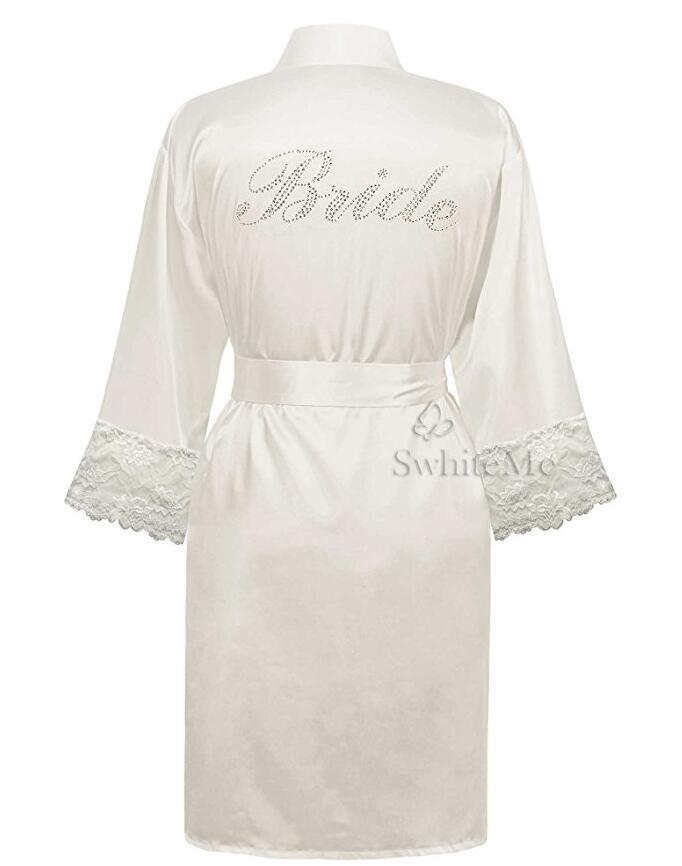 LP004 Wedding Bride Bridesmaid Floral Robe Satin Rayon Bathrobe Nightgown For Women Kimono Sleepwear Flower Plus Size(China)