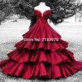 Lujo Borgoña Dubai Vestido de Novia 2017 Vestidos de Bola Del Applique Rebordeado Gradas Capas Rojo Oscuro Largo vestido de Novia Abito da Sposa