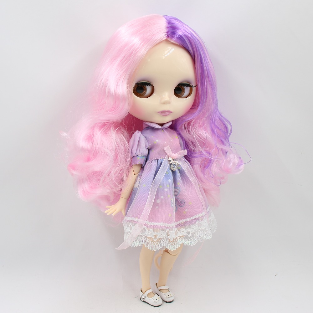 "12/"" Neo Blythe Doll From Factory Jointed Body Light Pink Short Curly Hair"