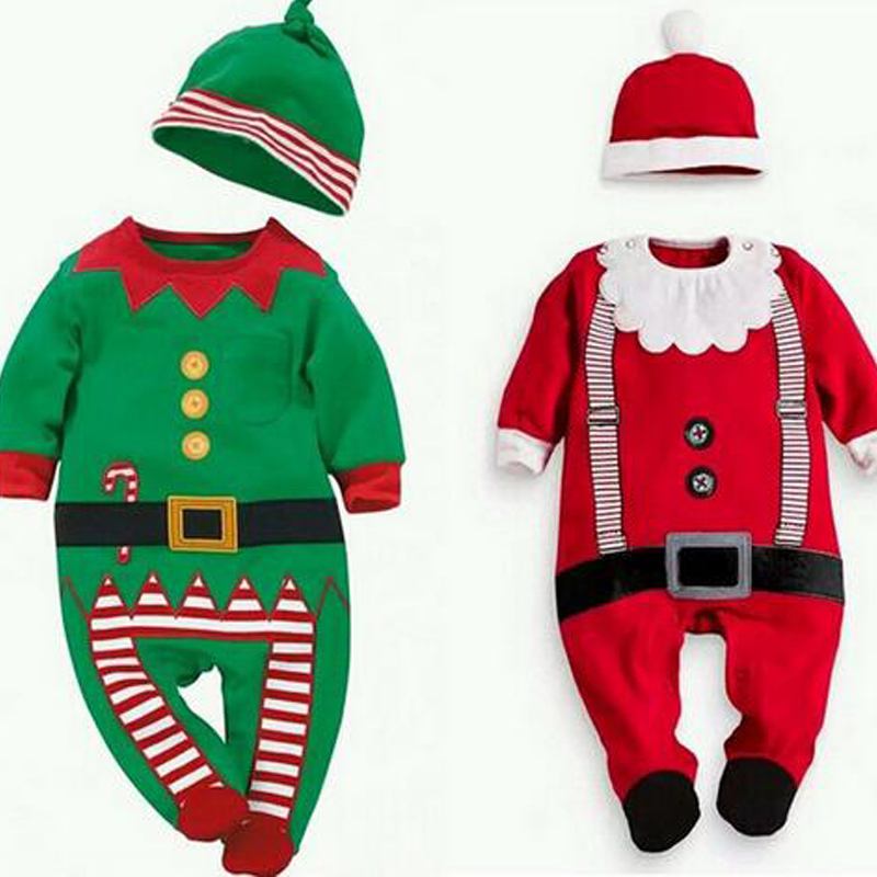 New Christmas Baby Girl Boy Rompers Costume Kids Newborn Clothes Long Sleeve Children Infant Clothing Stop+Hat Baby Girl Clothes цена