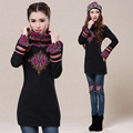 Women Pullover Female Autumn Winter Mexico Style Vintage Ethnic Turtleneck Long Sleeve Black t-shirt m-2xl Warm Shirt Undershirt