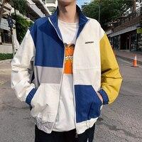 patchwork Oversized Jacket Men Summer Streetwear College Varsity Hip Hop Jacket Man Anorak Windbreaker Short Mens Coat 5J59