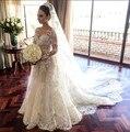 Clássico Lace A Line Vestido de Noiva Com Flores Custom Made Longo Vestido Até O Chão Para O Casamento de Trem Tribunal