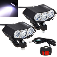 2PCS 30W 4000LM 3x XM L T6 LED Headlight Motorcycle Spot Work Light Offroad Driving Fog Lamp with Switch
