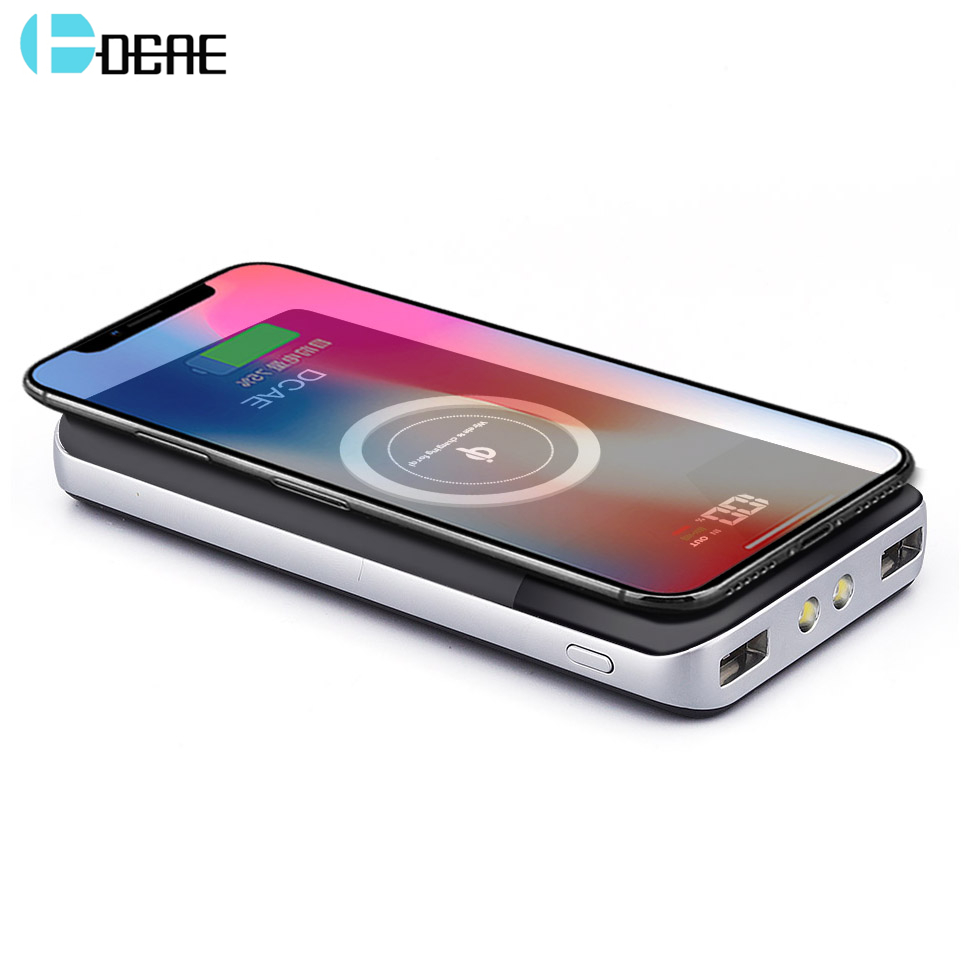 DCAE QI Wireless Charger For iPhone XS Max XR X 8 Samsung S9 S8 Fast Wireless Charging Desktop Pad Dual USB Power Bank 10000mAh