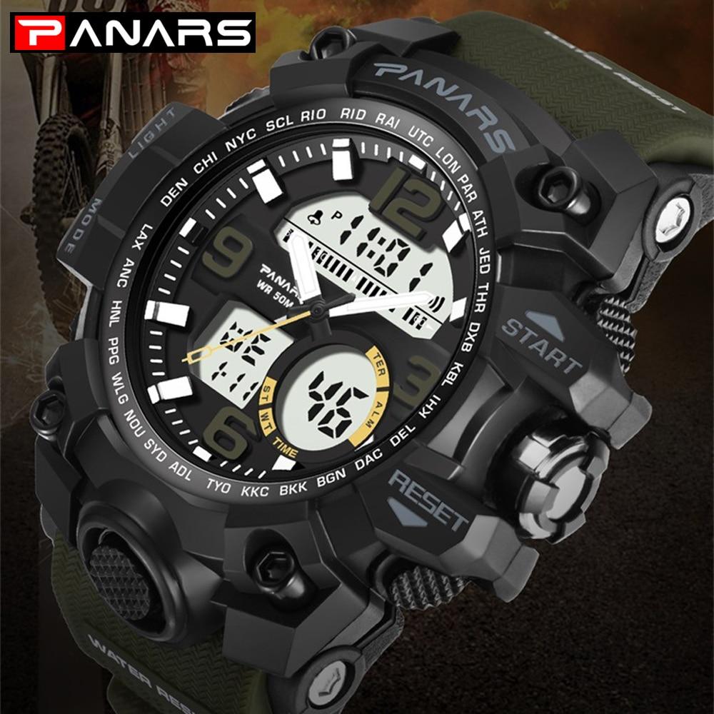 1df40db390c Homens Digital Relógios de Mergulho À Prova D  Água G Estilo PANARS LED Cronômetro  Do