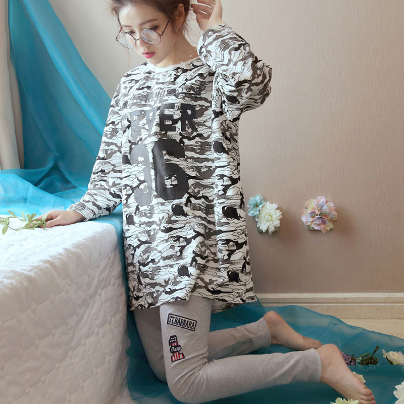 2018 new Autumn Long Sleeved   Pajamas     set   for Women loose print Comfortable Pyjamas   Sets   fashion design Nightwear casual homewear