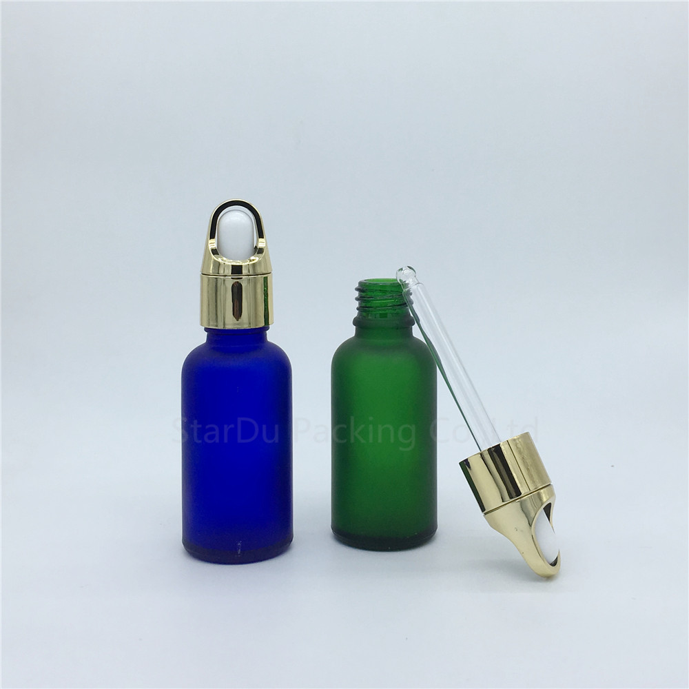 100pcs 30ml amber green blue Transparent frosted glass essential oil bottle 30cc glass perfume dropper bottle