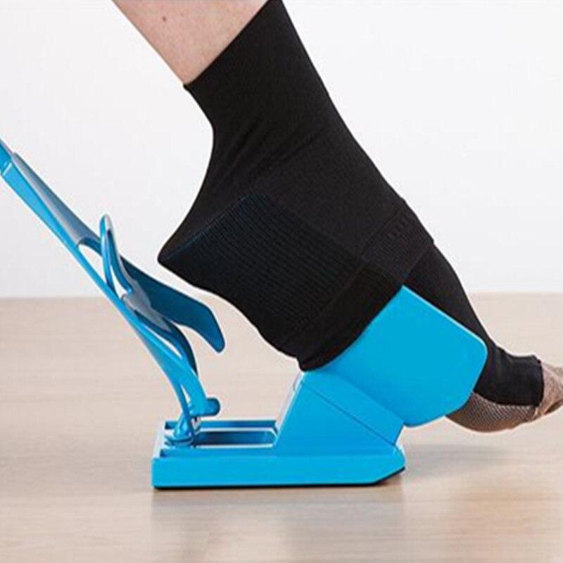 Off Sock Aid Kit Sock Helper Slider Fast Easy Way To Put On Socks for Old man and Pregnancy and Injuries Living tool sock slider aid blue helper kit help