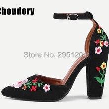 Verano tobillo Correa bloque tacones floral bordado bombas mujer encaje europeo up suede tacones zapatos dama vintage zapatos de boda